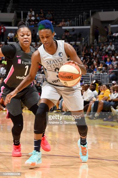 Danielle Robinson of the Minnesota Lynx handles the ball against the Los Angeles Sparks on August 2 2018 at STAPLES Center in Los Angeles California...