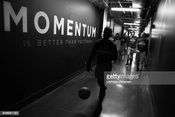 Danielle Robinson of the Phoenix Mercury leads teammates out to the court before the semifinal game three of the 2017 WNBA Playoffs against the Los...
