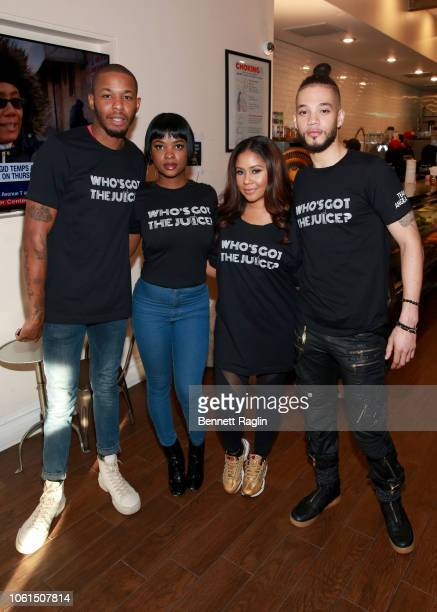 TP Danielle Rosias Angela Yee and Marco Maldonado attend Who's Got the Juice Hustle In Brooklyn on November 14 2018 in the Brooklyn borough of New...