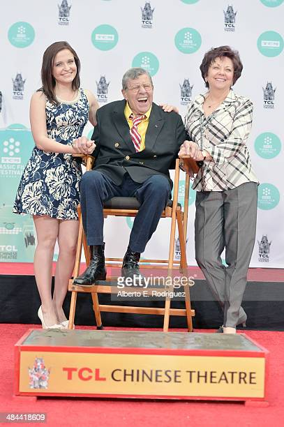 Danielle Sarah Lewis comedian Jerry Lewis and SanDee Pitnick attend the Jerry Lewis Hand and Footprint Ceremony at TCL Chinese Theatre during the...