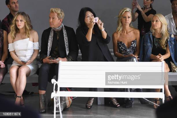 Danielle Savre Derek Warburton Susan Chen Lady Victoria Hervey and Indira Cesarine attend the Chocheng front row during New York Fashion Week The...