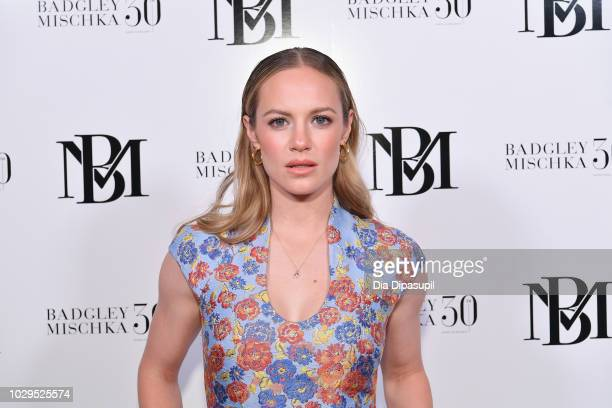 Danielle Savre poses backstage at the Badgley Mischka show during New York Fashion Week The Shows at Gallery I at Spring Studios on September 8 2018...