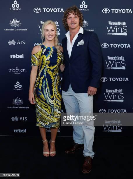 Danielle Scott and Nick Cummins arrive ahead of Women's Health Women In Sport Awards on October 18 2017 in Sydney Australia