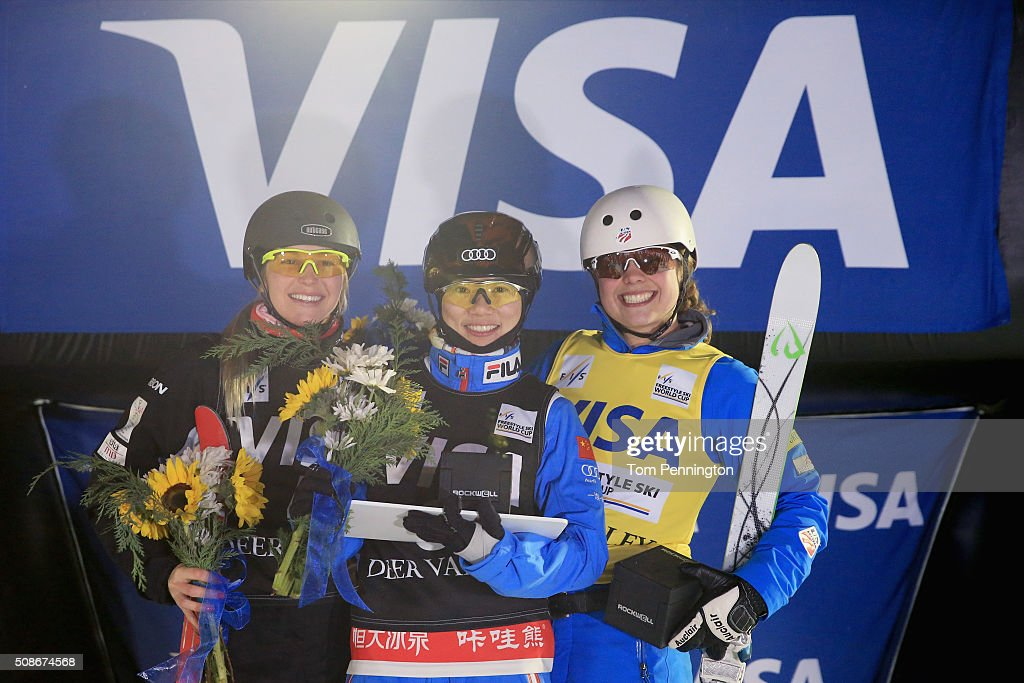 Danielle Scott of Australia in second place, Xin Zhang of China in first place and Ashley Caldwell in third place celebrate on the podium in the ladies' FIS Freestyle Skiing Aerial World Cup at the Visa Freestyle International at Deer Valley on February 5, 2016 in Park City, Utah.