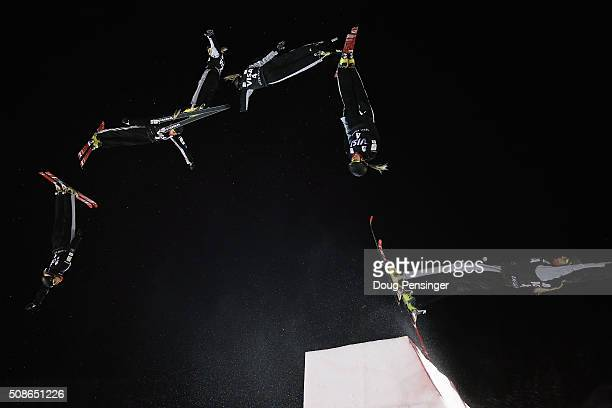 Danielle Scott of Australia jumps to second place in the ladies' FIS Freestyle Skiing Aerials World Cup at Deer Valley on February 5 2016 in Park...