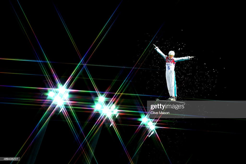 Danielle Scott of Australia makes a practice jump ahead of the Freestyle Skiing Ladies' Aerials Qualification on day seven of the Sochi 2014 Winter Olympics at Rosa Khutor Extreme Park on February 14, 2014 in Sochi, Russia.