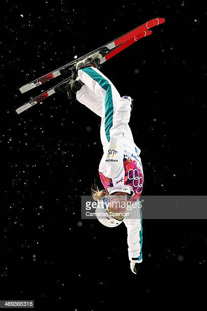 Danielle Scott of Australia practices ahead of the Freestyle Skiing Ladies' Aerials Finals on day seven of the Sochi 2014 Winter Olympics at Rosa...