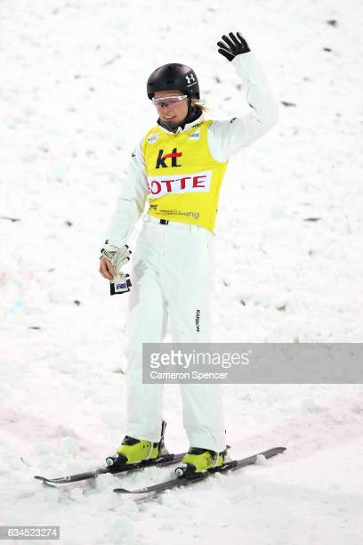 Danielle Scott of Australia reacts after crashing in the FIS Freestyle Ski World Cup 2016/17 Ladies Aerials final at Bokwang Snow Park on February 10...