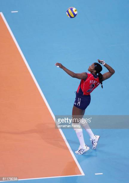 Danielle Scott of the United States serves the ball during the women's indoor Volleyball preliminary match on August 16 2004 during the Athens 2004...
