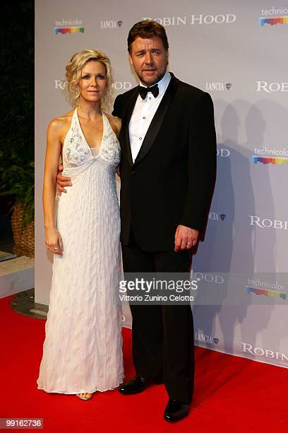 Danielle Spencer and Russell Crowe attend the 'Robin Hood' After Party at the Hotel Majestic during the 63rd Annual Cannes International Film...