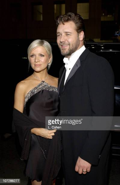 """Danielle Spencer and Russell Crowe during """"Master & Commander: The Far Side of the World"""" Los Angeles Premiere - Red Carpet at Samuel Goldwyn Theater..."""