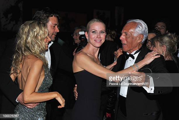 Danielle Spencer Russell Crowe actress Naomi Watts and Designer Giorgio Armani attend amfAR's Cinema Against AIDS 2010 benefit gala dinner at the...