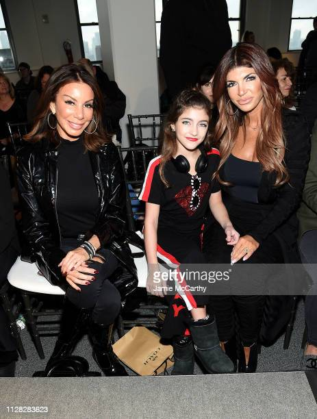 Danielle Staub Audriana Giudice and Teresa Giudice attend the Cosmopolitan NYFW fashion show during New York Fashion Week at Tribeca 360 on February...