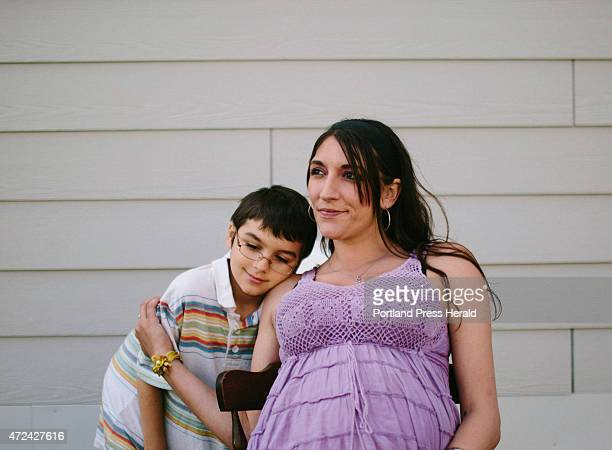 Danielle Tardy with her son Brandin Duclos outside their home in Portland ME on Monday May 4 2015