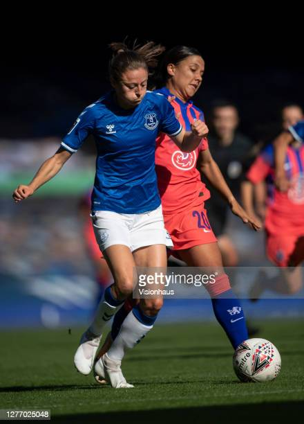 Danielle Turner of Everton and Sam Kerr of Chelsea in action during the Womens FA Cup Quarter Final match between Everton FC and Chelsea FC at...
