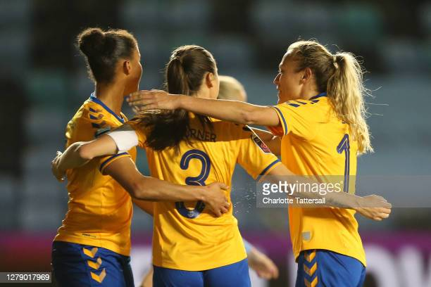 Danielle Turner of Everton Ladies celebrates with teammates after scoring her team's first goal during the FA Women's Continental League Cup match...