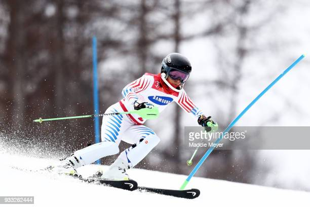 Danielle Umstead of the United States competes in the Women's Visually Impaired Slalom at Jeongseon Alpine Centre on Day 9 of the PyeongChang 2018...