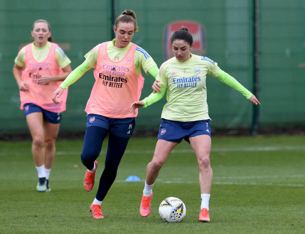Danielle van de Donk and Jill Roord of Arsenal during the Arsenal Women's training session at Arsenal Academy on March 25, 2021 in Walthamstow,...