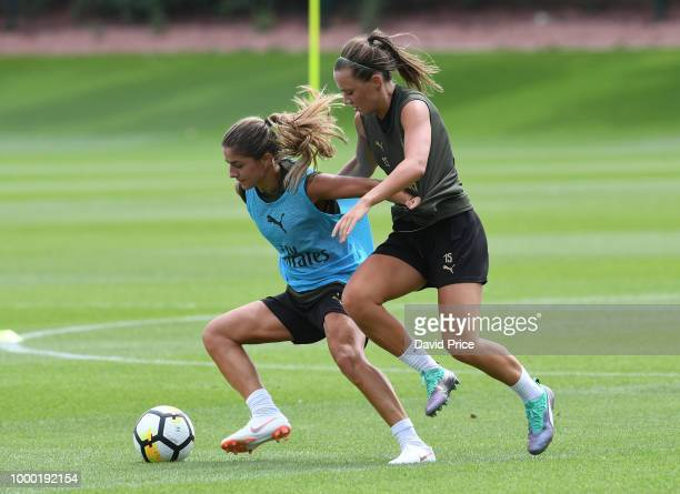 Danielle van de Donk and Katie McCabe of Arsenal Women during the Arsenal Womens Training Session at London Colney on July 16 2018 in St Albans...