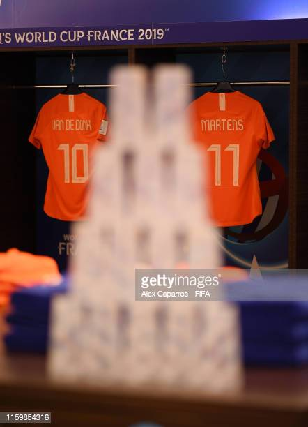 Danielle Van De Donk and Lieke Martens of the Netherlands's shirts are seen from behind a stack of cups inside the dressing room prior to the 2019...