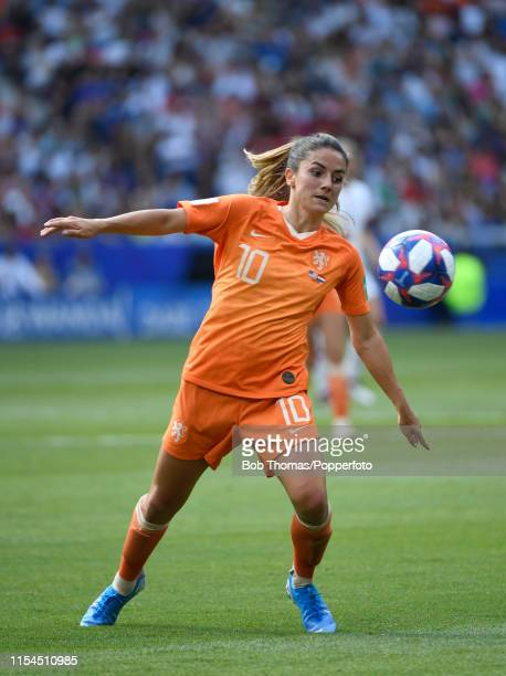 Danielle Van De Donk in action for the Netherlands during the 2019 FIFA Women's World Cup France Final match between The United States of America and...