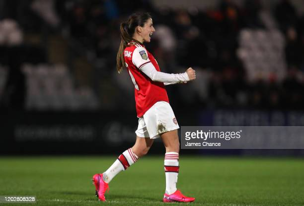 Danielle Van De Donk of Arsenal celebrates after scoring her team's second goal during the FA Women's Continental League Cup SemiFinal match between...