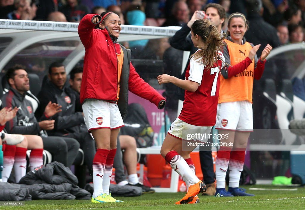 Danielle Van De Donk of Arsenal celebrates scoring their 1st goal with Alex Scott during the Womens Super League match between Arsenal Ladies and Manchester City Women at Meadow Park on May 12, 2018 in Borehamwood, England.