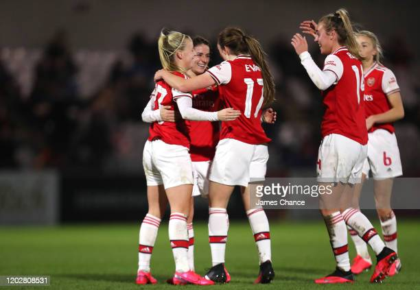 Danielle Van De Donk of Arsenal celebrates with Lisa Evans Beth Mead and Jill Roord of Arsenal after scoring her team's second goal during the FA...