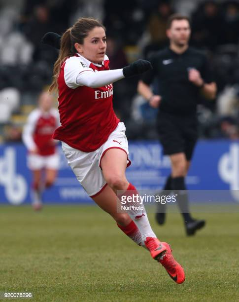 Danielle van de Donk of Arsenal during The FA Women's Cup Fifth Round match between Arsenal against Millwall Lionesses at Meadow Park Borehamwood FC...