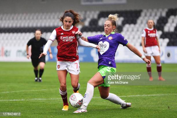 Danielle Van de Donk of Arsenal FC battles for possession with Amy Palmer of Bristol City during the Barclays FA Women's Super League match between...