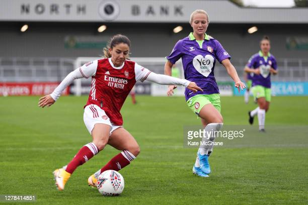 Danielle Van de Donk of Arsenal FC controls the ball as Jemma Purfield of Bristol City looks on during the Barclays FA Women's Super League match...