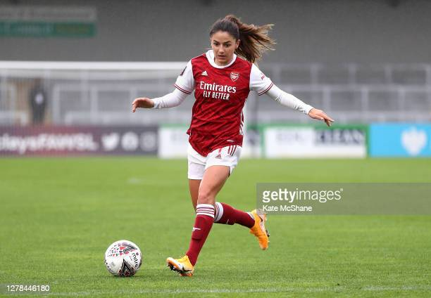 Danielle Van de Donk of Arsenal FC runs with the ball during the Barclays FA Women's Super League match between Arsenal and Bristol City at Meadow...