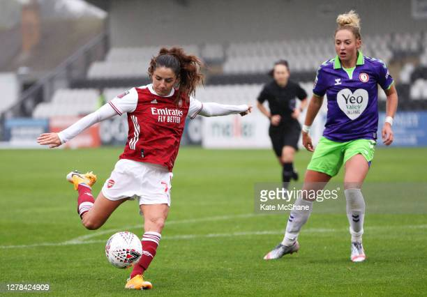 Danielle Van de Donk of Arsenal FC shoots wide during the Barclays FA Women's Super League match between Arsenal and Bristol City at Meadow Park on...