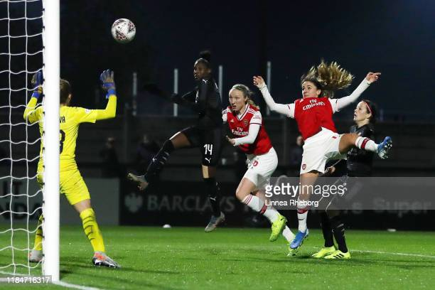 Danielle Van De Donk of Arsenal scores her team's sixth goal during the UEFA Women's Champions League Round of 16 Second Leg match between Arsenal...