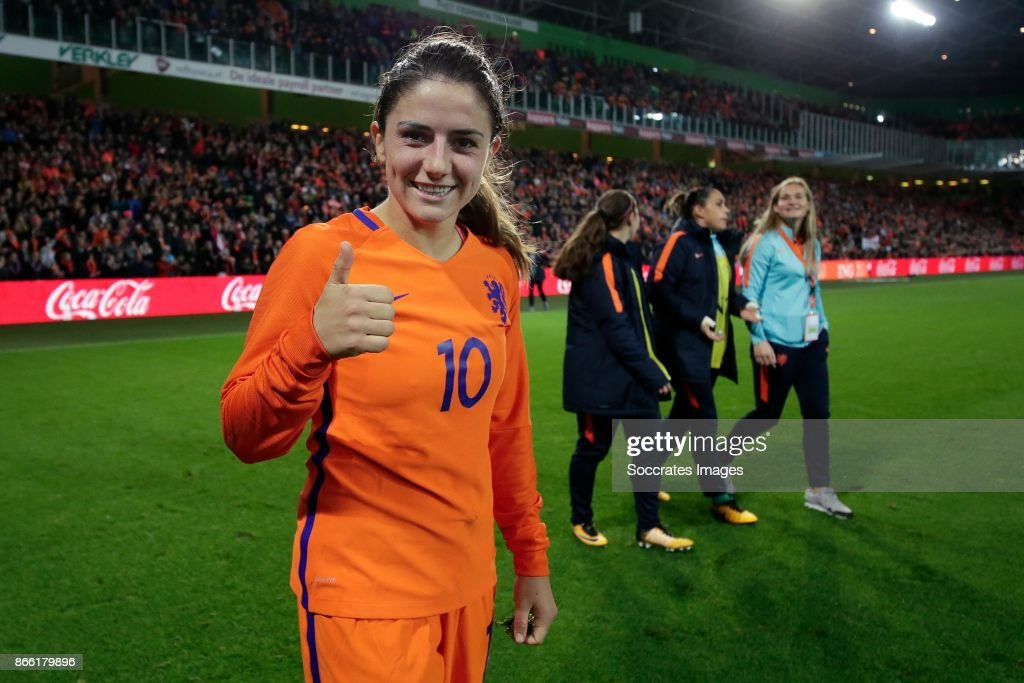 Danielle van de Donk of Holland Women celebrates the victory during the World Cup Qualifier Women match between Holland v Norway at the Noordlease stadium on October 24, 2017 in Groningen Netherlands