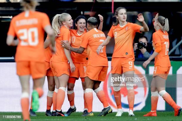 Danielle van de Donk of Holland Women celebrates with Lieke Martens of Holland Women Kika van Es of Holland Women Vivianne Miedema of Holland Women...