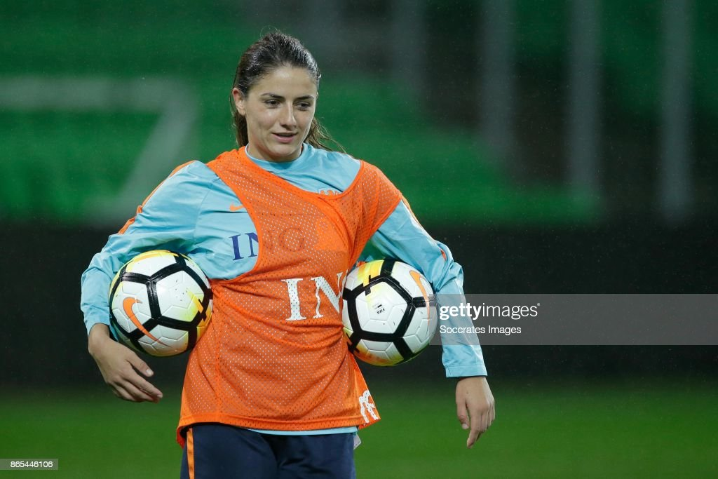 Danielle van de Donk of Holland Women during the match between Training Holland Women at the Noordlease stadium on October 23, 2017 in Groningen Netherlands