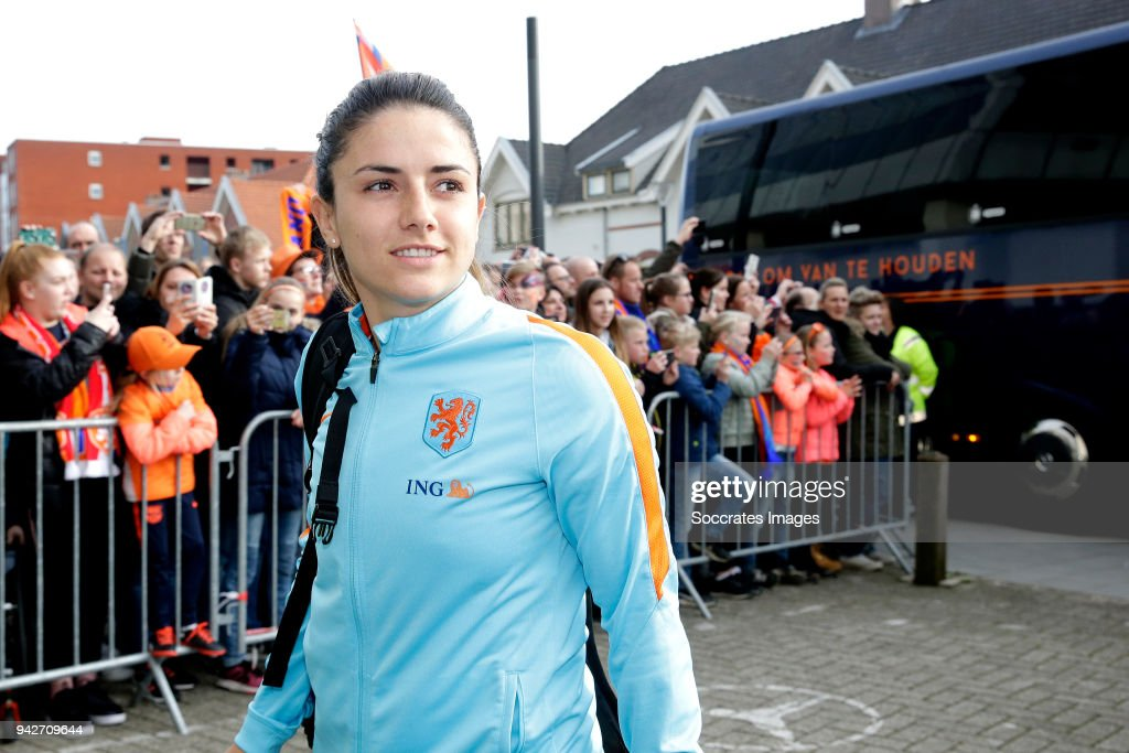 Danielle van de Donk of Holland Women during the World Cup Qualifier Women match between Holland v Northern Ireland at the Philips Stadium on April 6, 2018 in Eindhoven Netherlands