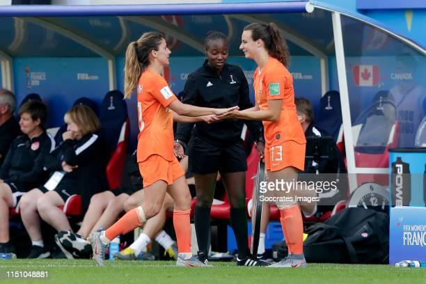 Danielle van de Donk of Holland Women, Renate Jansen of Holland Women during the World Cup Women match between Holland v Canada at the Stade...
