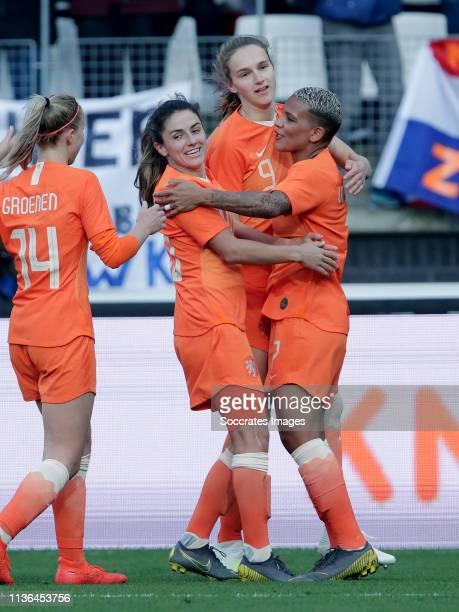Danielle van de Donk of Holland Women Vivianne Miedema of Holland Women Shanice van de Sanden of Holland Women Jackie Groenen of Holland Women during...