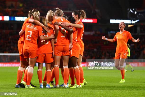 Danielle van de Donk of Netherlands celebrates scoring her teams first goal of the game with team mates during the UEFA Women's Euros 2021 Group A...
