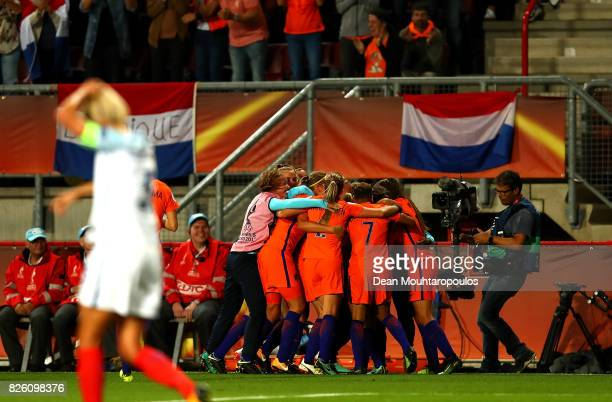 Danielle van de Donk of The Netherlands celebrates with team mates after scoring her team's second goal of the game during the UEFA Women's Euro 2017...