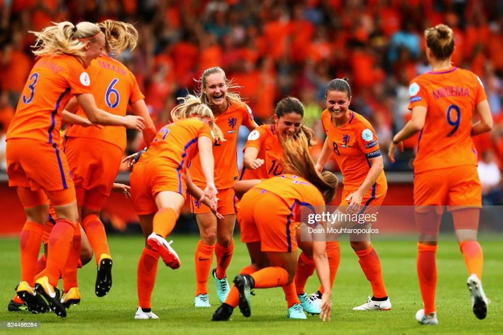 Danielle van de Donk of the Netherlands congratulates the opening goalscorer Lieke Martens of the Netherlands during the UEFA Women's Euro 2017 Quarter Final match between Netherlands and Sweden at Stadion De Vijverberg on July 29, 2017 in Doetinchem, Netherlands.