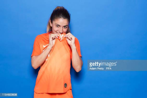 Danielle Van De Donk of the Netherlands poses for a portrait during the official FIFA Women's World Cup 2019 portrait session at Hotel Novotel Le...