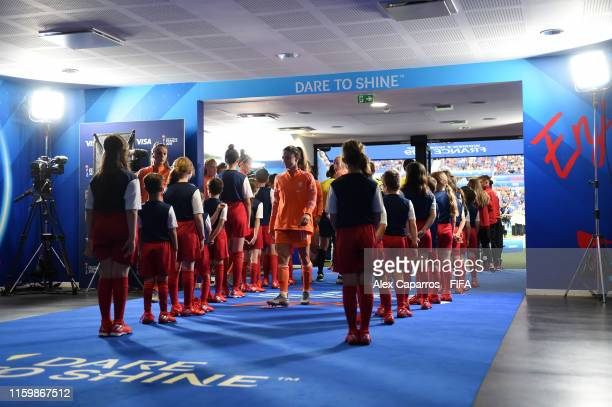 Danielle Van De Donk of the Netherlands prepares for kick off in the tunnel prior to the 2019 FIFA Women's World Cup France Semi Final match between...