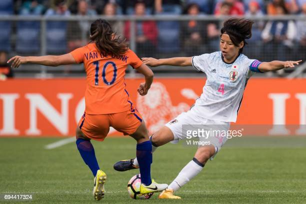 Danielle van de Donk of the Netherlands Saki Kumagai of Japanduring the friendly match between the women of The Netherlands and Japan at the Rat...