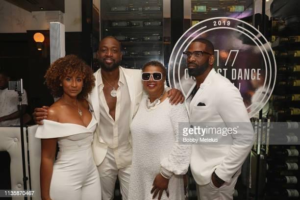 Danielle Wade Dwyane Wade Jolinda Wade and Dwyane Wade Sr attend Dwyane Wade's 16 Year NBA Career Celebration Dinner on April 8 2019 in Miami Florida