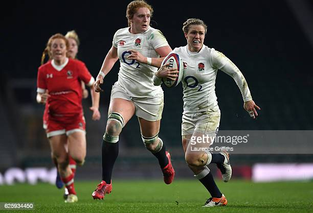 Danielle Waterman of England breaks free to score a try during the Old Mutual Wealth Series Women's match between England and Canada at Twickenham...