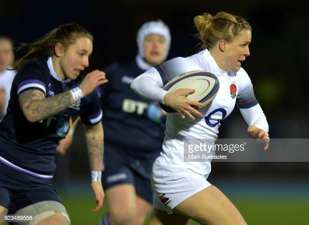 Danielle Waterman of England breaks free to score the first try of the game during the Natwest Women's Six Nations match between Scotland Women and...