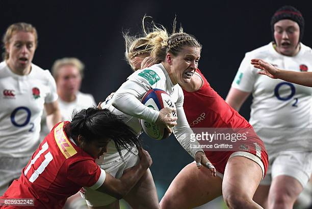 Danielle Waterman of England breaks through during the Old Mutual Wealth Series Women's match between England and Canada at Twickenham Stadium on...